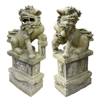 Pair of antique Chinese stone Fu dogs