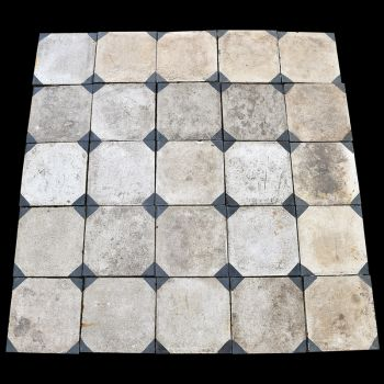 19th Century Egyptian Tiles - White with Blue Corners