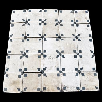 19th Century Egyptian Tiles - White and Blue Patterned